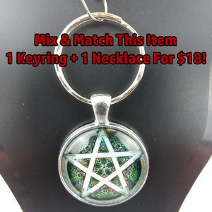 Green Pentagram Pentacle Photo Cabochon Keychain